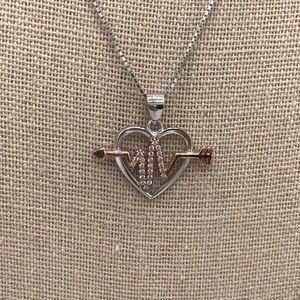 925 Sterling Silver Heart Heartbeat Arrow Necklace